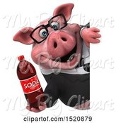 Swine Clipart of 3d Chubby Business Pig Holding a Soda, on a White Background by Julos