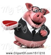 Swine Clipart of 3d Chubby Business Pig Holding a Steak, on a White Background by Julos