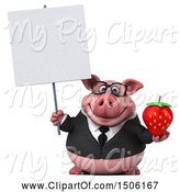 Swine Clipart of 3d Chubby Business Pig Holding a Strawberry, on a White Background by Julos
