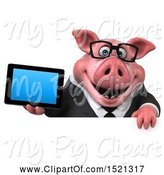 Swine Clipart of 3d Chubby Business Pig Holding a Tablet, on a White Background by Julos