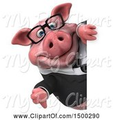 Swine Clipart of 3d Chubby Business Pig Holding a Thumb Down, on a White Background by Julos