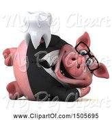 Swine Clipart of 3d Chubby Business Pig Holding a Tooth, on a White Background by Julos