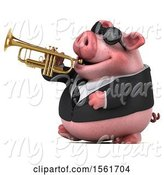 Swine Clipart of 3d Chubby Business Pig Holding a Trumpet, on a White Background by Julos
