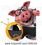 Swine Clipart of 3d Chubby Business Pig Holding a Tv, on a White Background by Julos