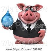 Swine Clipart of 3d Chubby Business Pig Holding a Water Drop, on a White Background by Julos