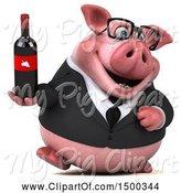 Swine Clipart of 3d Chubby Business Pig Holding a Wine Bottle, on a White Background by Julos