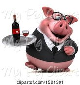 Swine Clipart of 3d Chubby Business Pig Holding a Wine Tray, on a White Background by Julos