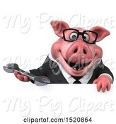 Swine Clipart of 3d Chubby Business Pig Holding a Wrench, on a White Background by Julos