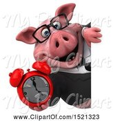 Swine Clipart of 3d Chubby Business Pig Holding an Alarm Clock, on a White Background by Julos