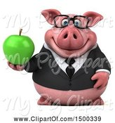 Swine Clipart of 3d Chubby Business Pig Holding an Apple, on a White Background by Julos