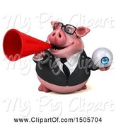Swine Clipart of 3d Chubby Business Pig Holding an Eyeball, on a White Background by Julos