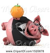 Swine Clipart of 3d Chubby Business Pig Holding an Orange, on a White Background by Julos