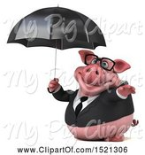 Swine Clipart of 3d Chubby Business Pig Holding an Umbrella, on a White Background by Julos