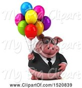 Swine Clipart of 3d Chubby Business Pig Holding Balloons, on a White Background by Julos