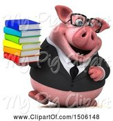 Swine Clipart of 3d Chubby Business Pig Holding Books, on a White Background by Julos