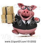 Swine Clipart of 3d Chubby Business Pig Holding Boxes, on a White Background by Julos