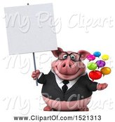 Swine Clipart of 3d Chubby Business Pig Holding Messages, on a White Background by Julos