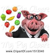 Swine Clipart of 3d Chubby Business Pig Holding Produce, on a White Background by Julos