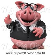 Swine Clipart of 3d Chubby Business Pig Holding up a Middle Finger, on a White Background by Julos