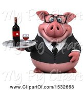 Swine Clipart of 3d Chubby Business Pig Holding Wine, on a White Background by Julos
