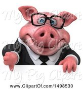 Swine Clipart of 3d Chubby Business Pig, on a White Background by Julos