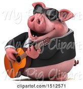Swine Clipart of 3d Chubby Business Pig Playing a Guitar, on a White Background by Julos