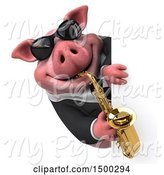 Swine Clipart of 3d Chubby Business Pig Playing a Saxophone, on a White Background by Julos
