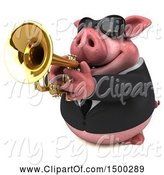 Swine Clipart of 3d Chubby Business Pig Playing a Trumpet, on a White Background by Julos