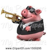 Swine Clipart of 3d Chubby Business Pig Playing Trumpet, on a White Background by Julos