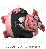 Swine Clipart of 3d Chubby Business Pig Resting, on a White Background by Julos