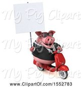 Swine Clipart of 3d Chubby Business Pig Riding a Scooter, on a White Background by Julos