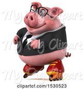 Swine Clipart of 3d Chubby Business Pig Roller Blading, on a White Background by Julos