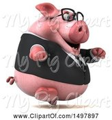 Swine Clipart of 3d Chubby Business Pig Running, on a White Background by Julos