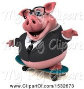 Swine Clipart of 3d Chubby Business Pig Skateboarding, on a White Background by Julos