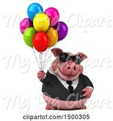 Swine Clipart of 3d Chubby Business Pig with Balloons, on a White Background by Julos