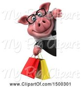 Swine Clipart of 3d Chubby Business Pig with Shopping Bags, on a White Background by Julos