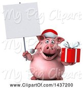 Swine Clipart of 3d Chubby Christmas Pig Holding a Gift, on a White Background by Julos