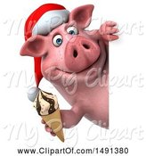 Swine Clipart of 3d Chubby Christmas Pig Holding an Ice Cream Cone, on a White Background by Julos