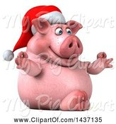 Swine Clipart of 3d Chubby Christmas Pig Meditating, on a White Background by Julos
