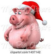 Swine Clipart of 3d Chubby Christmas Pig, on a White Background by Julos