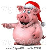 Swine Clipart of 3d Chubby Christmas Pig Pointing, on a White Background by Julos