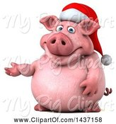 Swine Clipart of 3d Chubby Christmas Pig Presenting, on a White Background by Julos