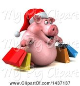 Swine Clipart of 3d Chubby Christmas Pig Shopping, on a White Background by Julos