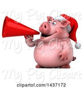 Swine Clipart of 3d Chubby Christmas Pig Using a Megaphone, on a White Background by Julos