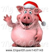 Swine Clipart of 3d Chubby Christmas Pig Waving, on a White Background by Julos