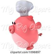 Swine Clipart of 3d Chubby Pig Chef Jumping 2 by Julos