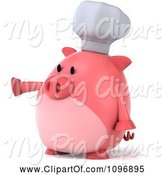 Swine Clipart of 3d Chubby Pig Chef Pointing Left by Julos