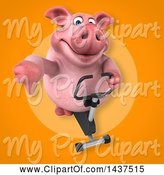 Swine Clipart of 3d Chubby Pig Exercising on a Spin Bike by Julos