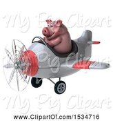 Swine Clipart of 3d Chubby Pig Flying a Plane, on a White Background by Julos