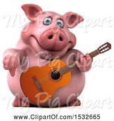 Swine Clipart of 3d Chubby Pig Giving a Thumb down and Holding a Guitar, on a White Background by Julos